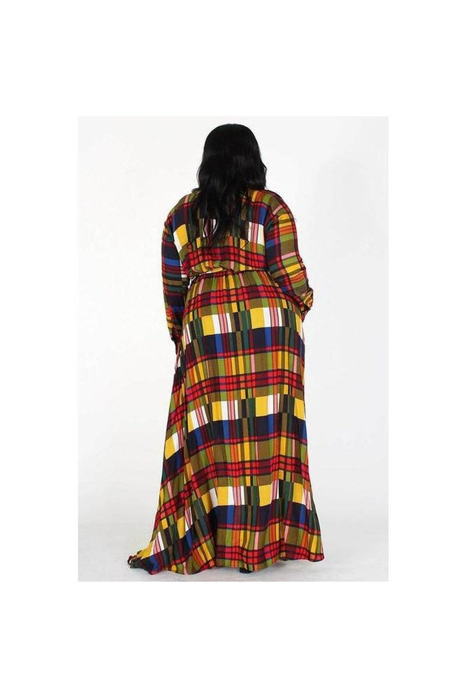 Curvy Leslie Plaid Maxi Dress/Duster