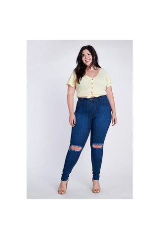 Curvy Skinny Knee Hole Denim