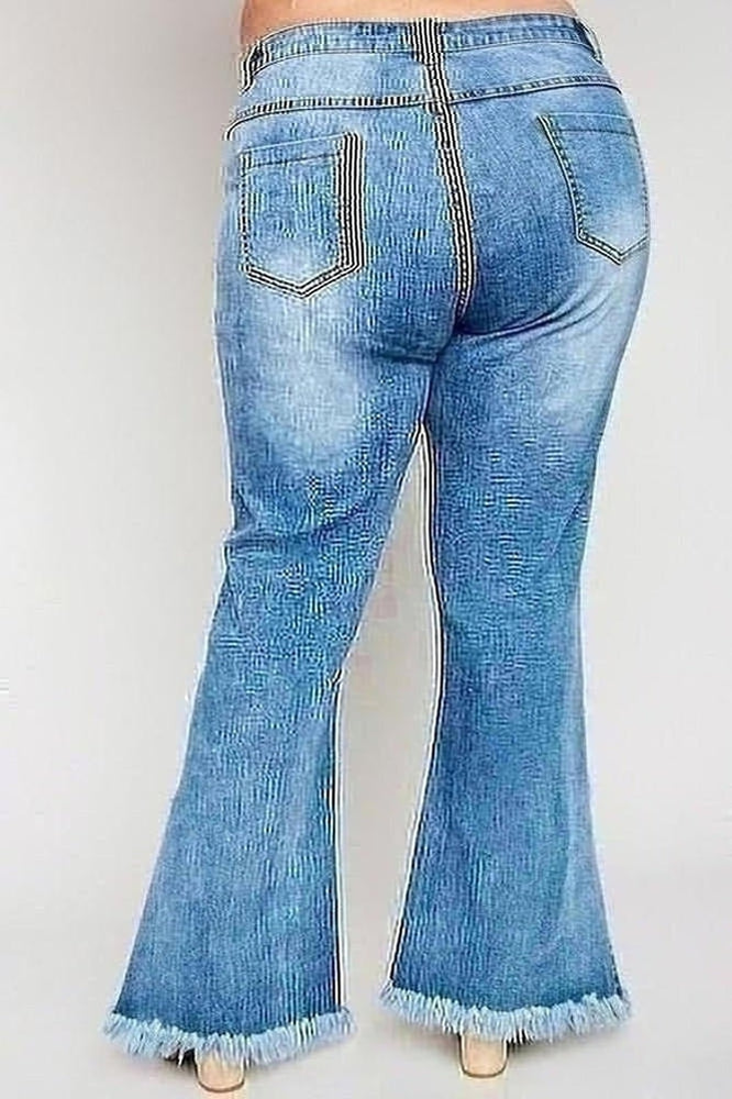 Flirty Frayed Denim Jeans