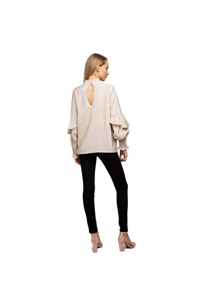 High Neck Ruffle Sleeve Blouse