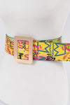 Yellow Graffiti Plus Size Waist Belt