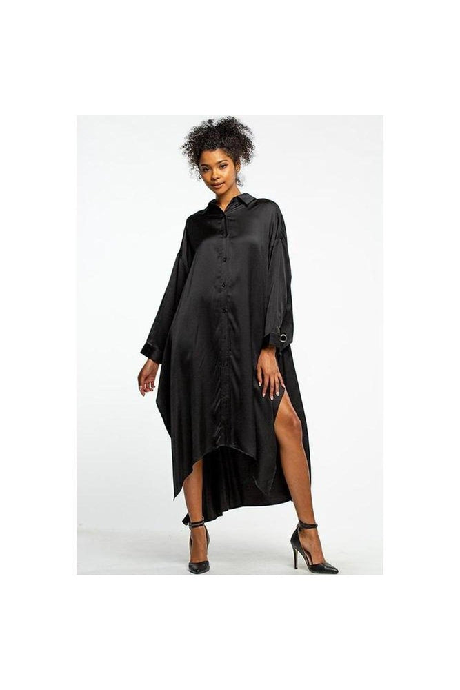 Boujie Babe Satin Shirt Dress