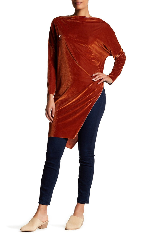 Asymmetrical Velveteen Tunic Top