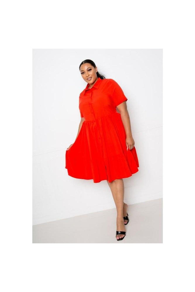 Red-Orange Tina Tiered Dress