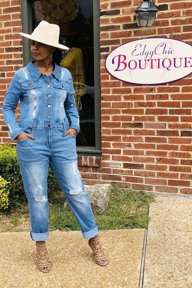 Rugged Distressed Jumpsuit