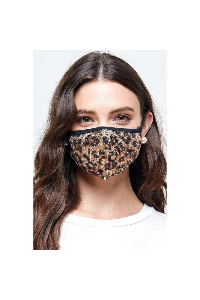 Sequin Leopard Mask