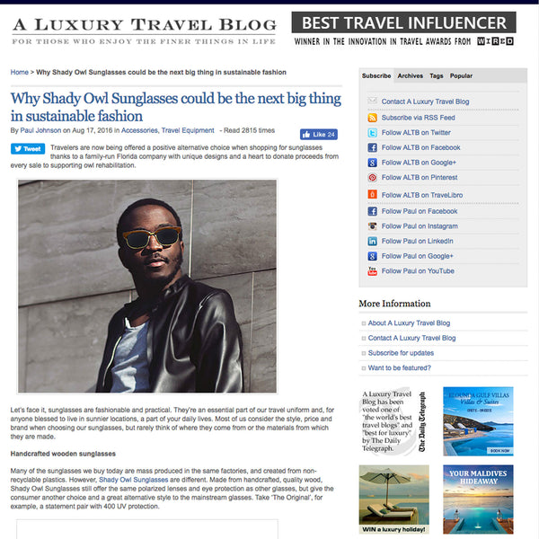 Shady Owl Sunglasses Featured on A Luxury Travel Blog