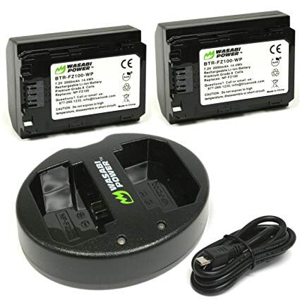 Wasabi Power Battery (2-Pack) and Dual USB Charger for Sony NP-FZ100 - ProPlus