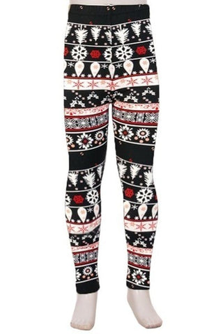 Black And White Snowflake Printed Leggings