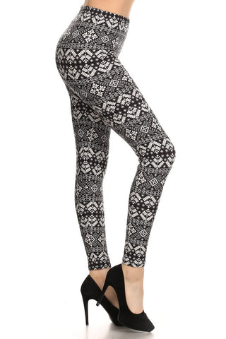 9a8541d23bf36 Love It. Black And White Snowflake Printed Leggings