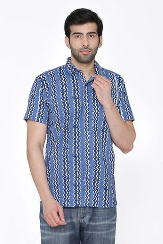 100% Jaipur cotton Blue Indian Short Kurta