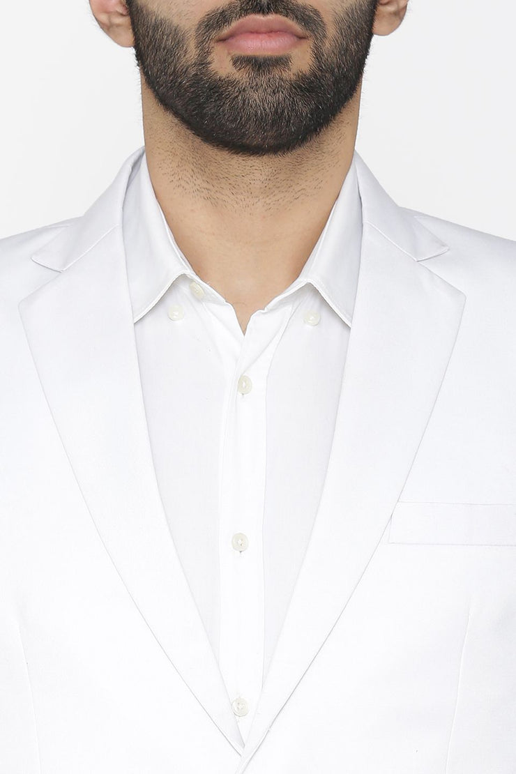 Polyester Cotton White Blazer