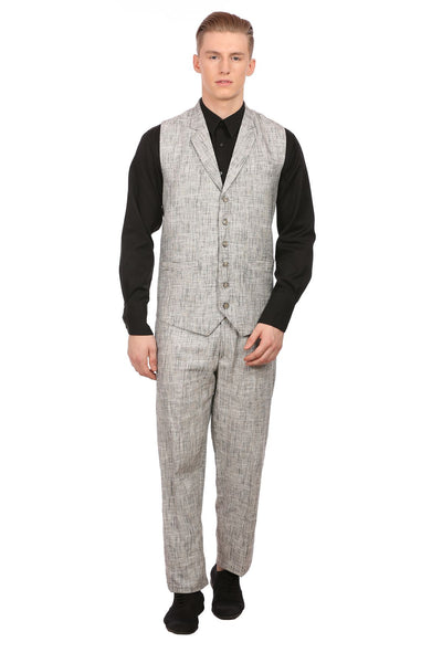 Linen Silver Vest and Trouser Set