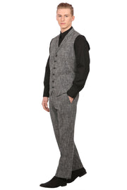 Linen Black Vest and Trouser Set