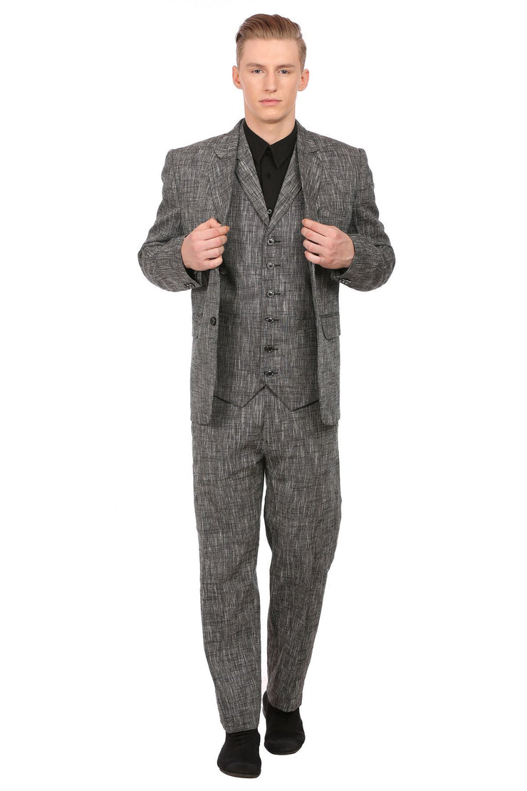 Linen Black 3pc Suit