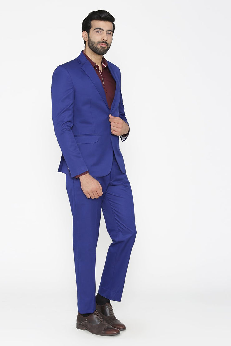 Polyester Cotton Blue Suit