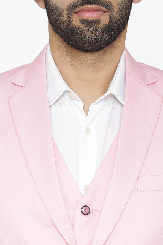 Polyester Cotton Pink Suit