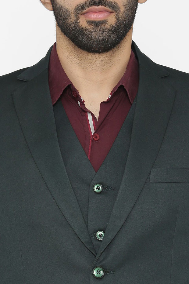 Polyester Cotton Green Suit