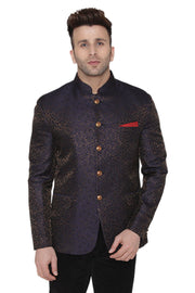 Banarsi Rayon Cotton Purple Bandhgala Blazer
