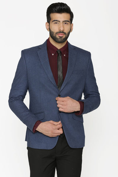 Tweed Wool Blue Blazer Coat Jacket
