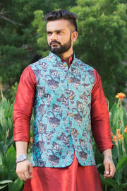 Imported Rayon MulticolouRed Modi Nehru Jacket