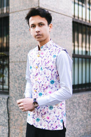 Rayon Fabric MulticolouRed Modi Nehru Jacket