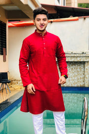 Cotton Silk Red Kurta Pyjama
