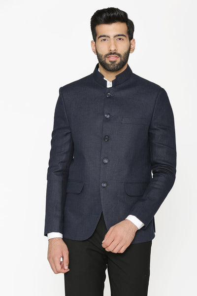 100% Linen Blue Blazer Coat Jacket