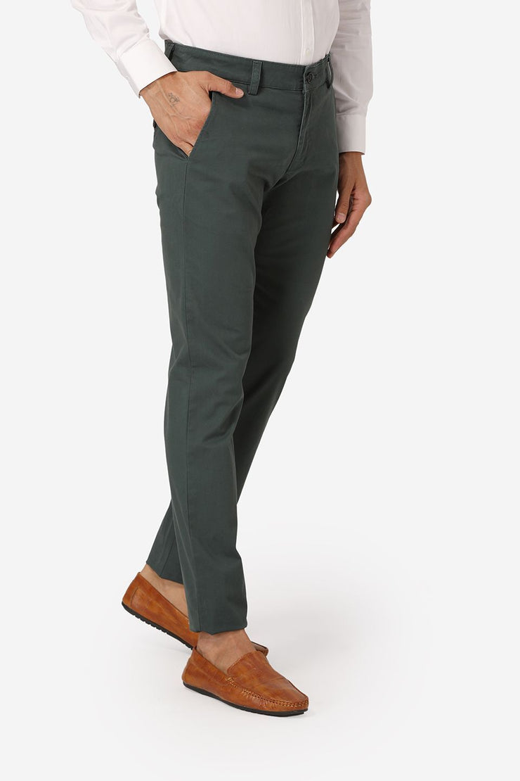 Wintage Men's Green Regular Fit Chinos 100% Cotton Twill Stretch Trousers