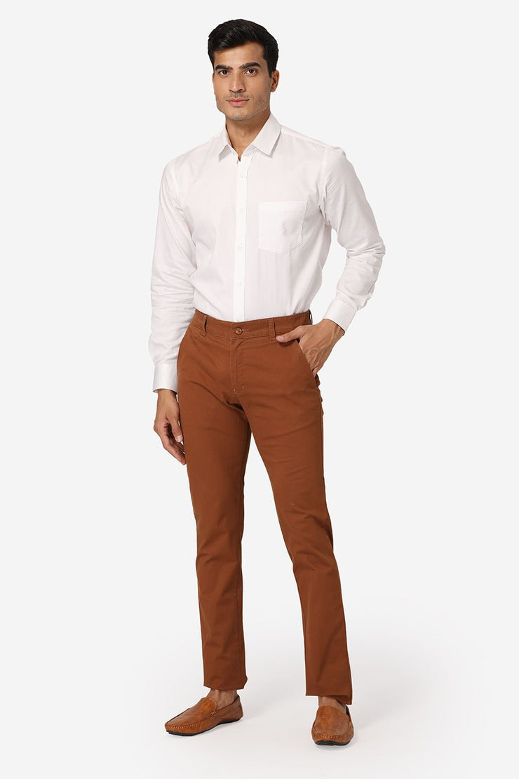 Wintage Men's Brown Regular Fit Chinos 100% Cotton Twill Stretch Trousers