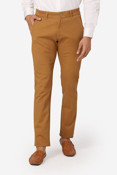 Wintage Men's Yellow Regular Fit Chinos 100% Cotton Twill Stretch Trousers