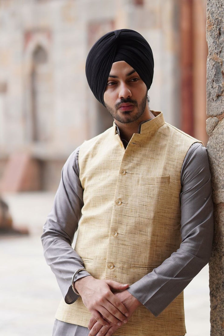 Cotton Khadi Beige Modi Nehru Jacket