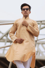 Cotton Silk Beige Kurta Pyjama