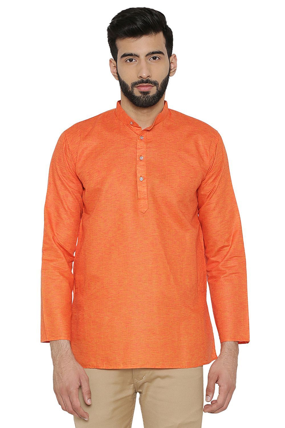 Cotton Silk Blend Orange Kurta Shirt