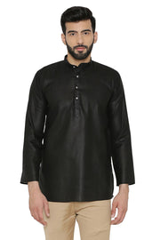 Cotton Silk Blend Black Kurta Shirt