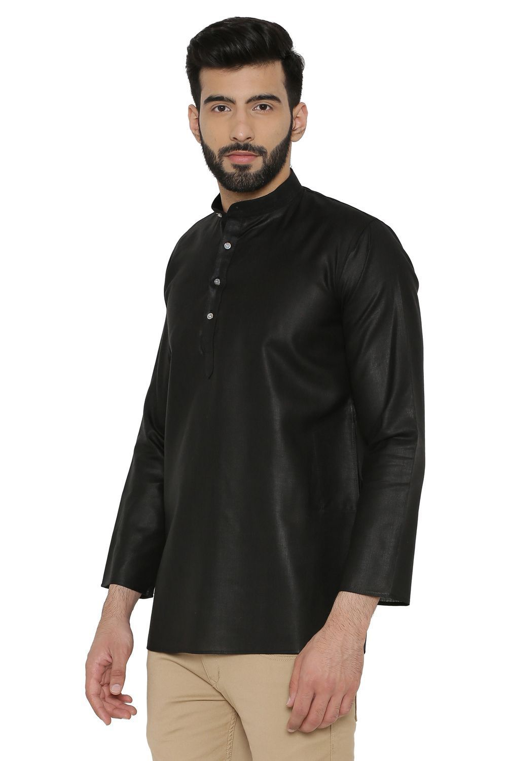 Cotton Silk Blend Kurtas - Black