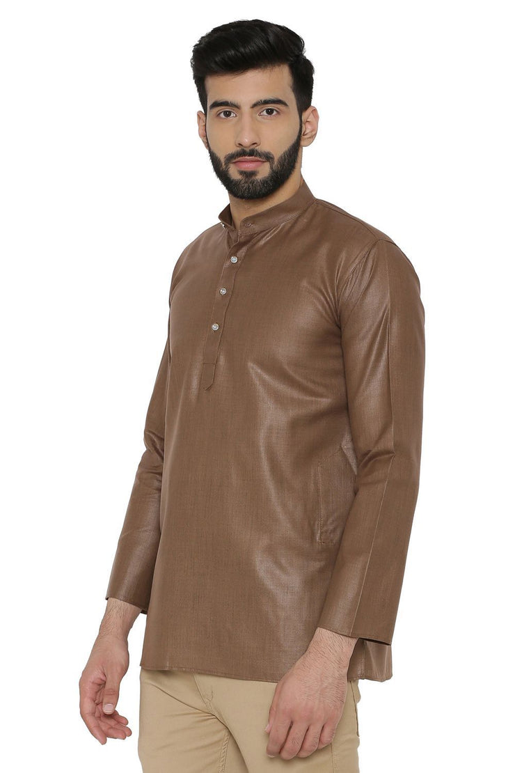 Cotton Silk Blend Brown Kurta Shirt