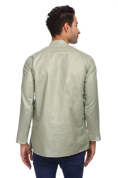 Cotton Silk Blend Grey Kurta Shirt