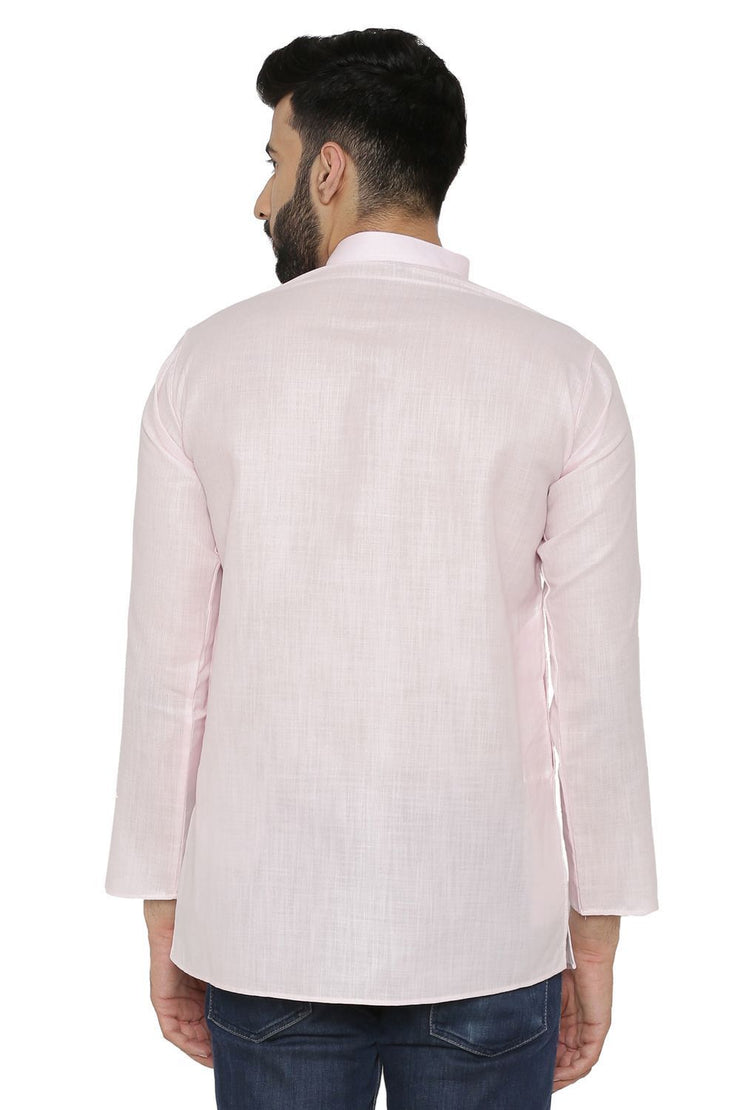Cotton Silk Blend Pink Kurta Pyjama