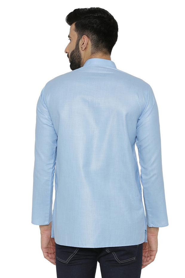 Cotton Silk Blend Blue Kurta Shirt