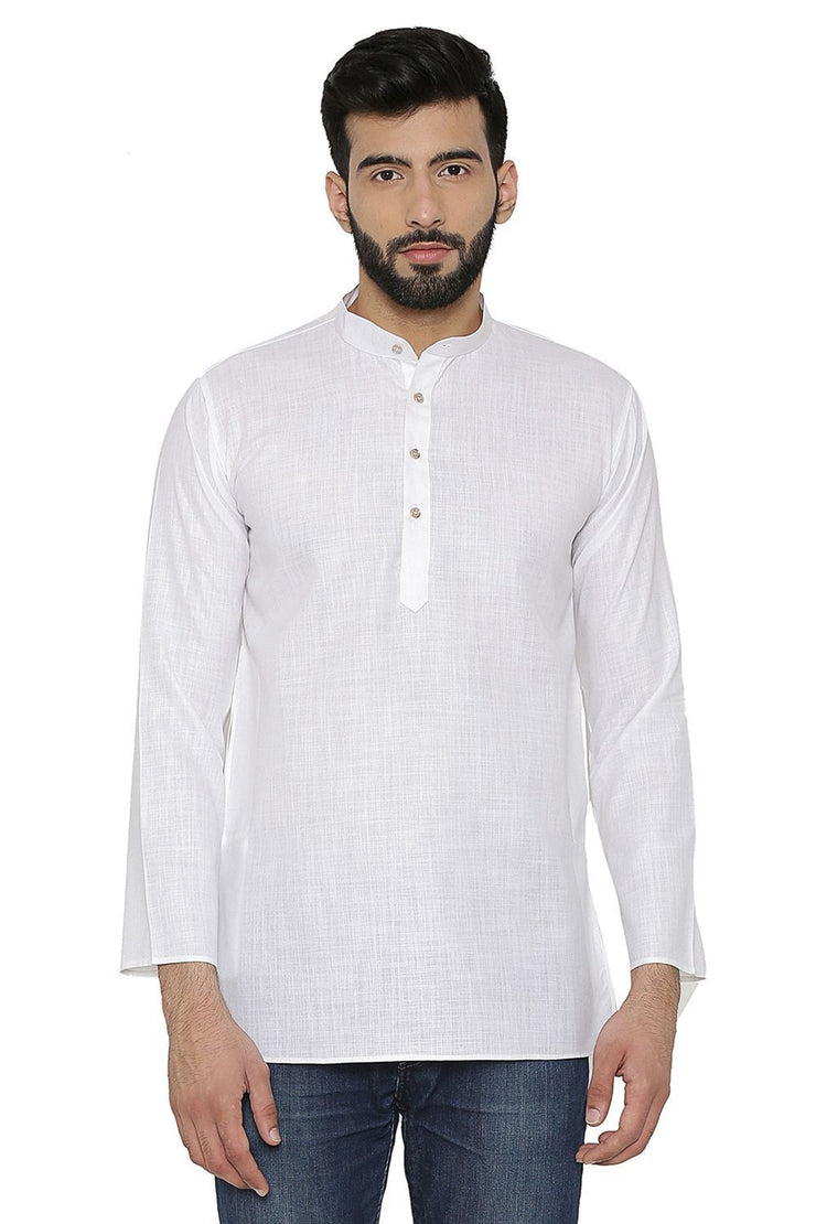 Cotton Silk Blend White Kurta Shirt