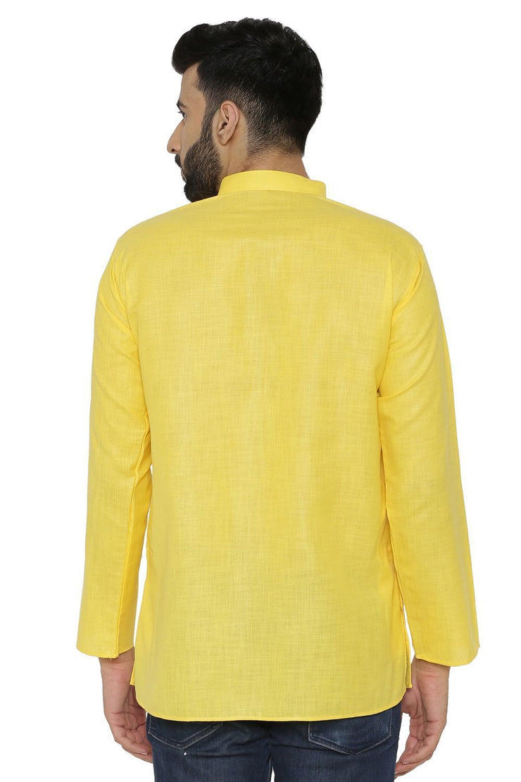 Cotton Silk Blend Yellow Kurta Shirt