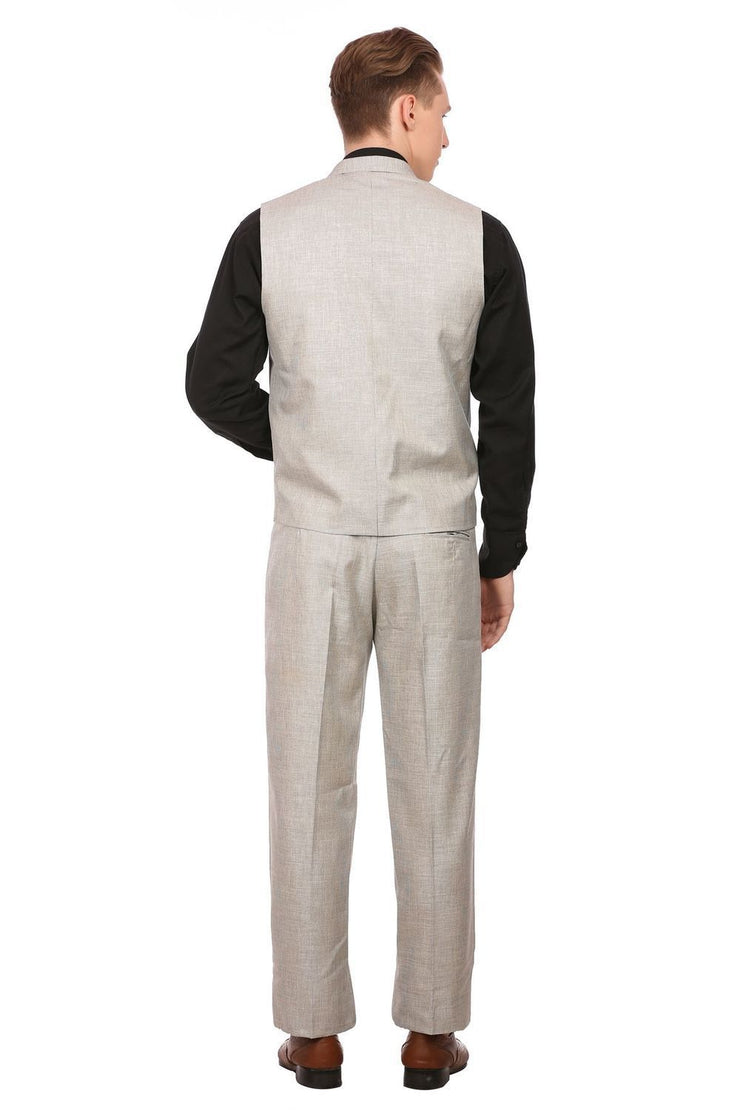 Linen Blend Silver Vest and Pant Set