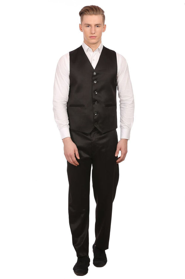 Poly Blend Black Tuxedo Vest and Pant Set