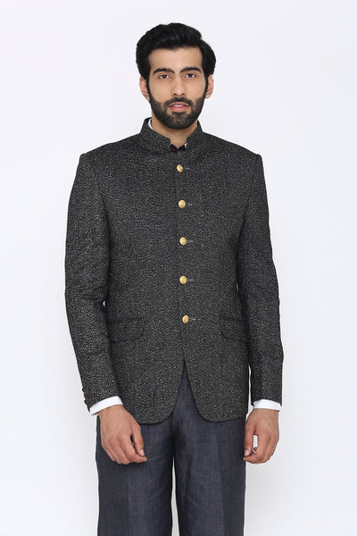 Tweed Wool Black Bandhgala