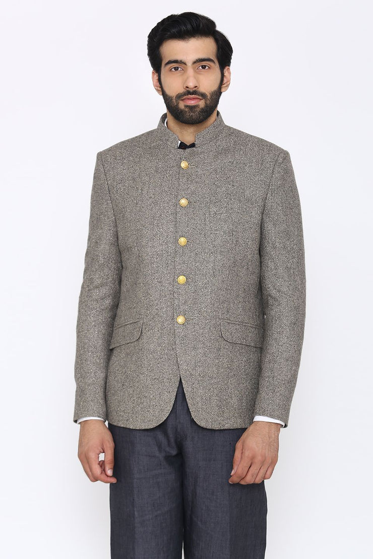 Tweed Wool Grey Bandhgala