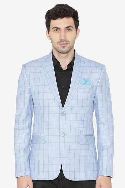 Polyester Cotton Sky Blue  Blazer
