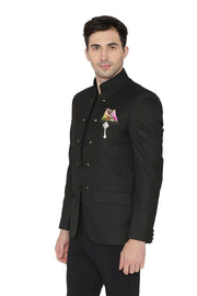 Polyester Cotton Black Bandhgala