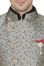 Banarsi Rayon Cotton Grey Bandhgala