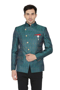 Banarsi Rayon Cotton Green Bandhgala